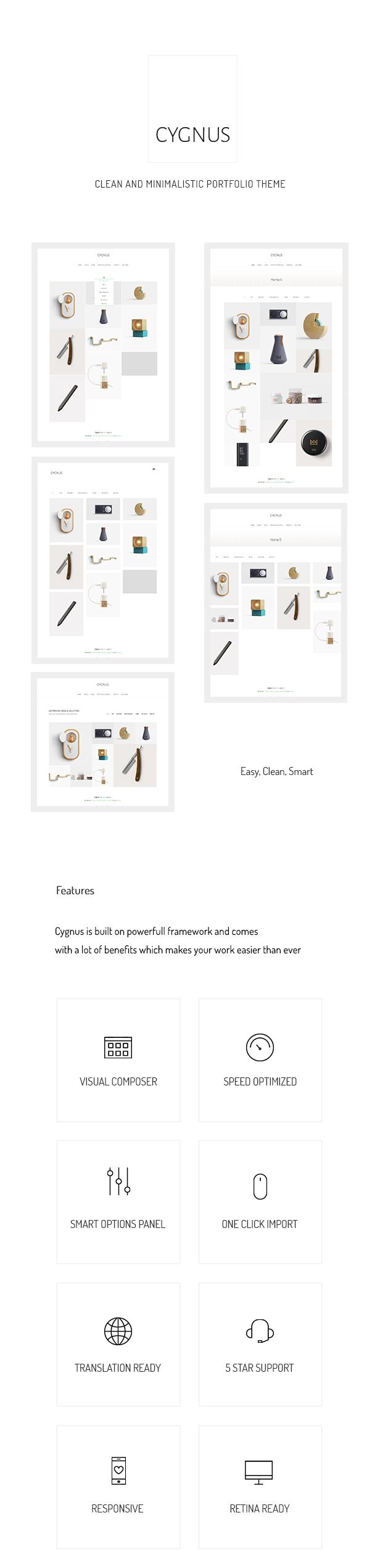 Cygnus - Clean and minimalistic portfolio theme - 1